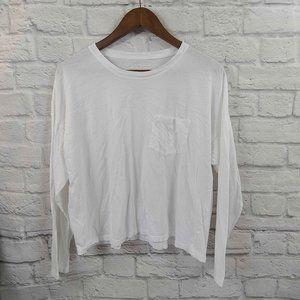 Everlane White Pocket Long Sleeve Crop Top Size XL